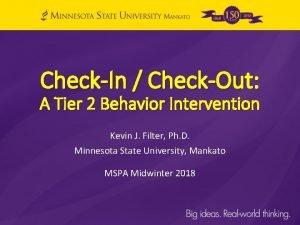 CheckIn CheckOut A Tier 2 Behavior Intervention Kevin