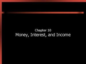 Chapter 10 Money Interest and Income Introduction Money
