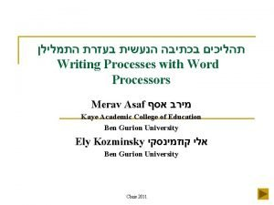 Writing Processes with Word Processors Merav Asaf Kaye