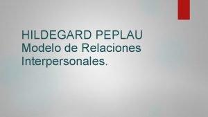 HILDEGARD PEPLAU Modelo de Relaciones Interpersonales Bibliografa Naci