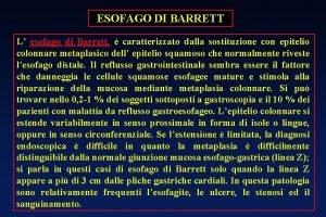 ESOFAGO DI BARRETT L esofago di Barrett caratterizzato