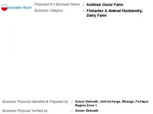Proposed NU Business Name Kohinur Gorur Farm Business