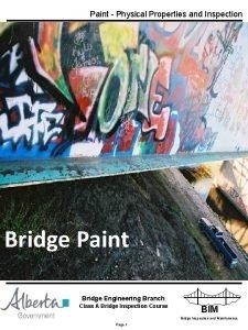 Paint Physical Properties and Inspection Bridge Paint Bridge