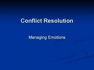 Conflict Resolution Managing Emotions Managing Emotions Identifying Motions