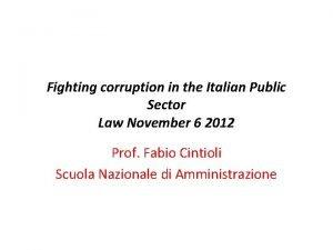 Fighting corruption in the Italian Public Sector Law