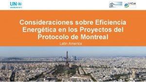 Consideraciones sobre Eficiencia Energtica en los Proyectos del