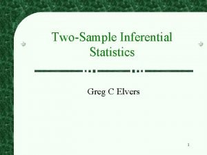 TwoSample Inferential Statistics Greg C Elvers 1 TwoSample