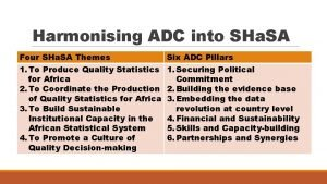 Harmonising ADC into SHa SA Four SHa SA