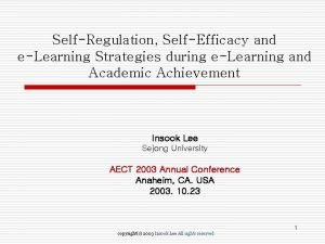 SelfRegulation SelfEfficacy and eLearning Strategies during eLearning and