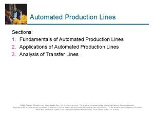 Automated Production Lines Sections 1 Fundamentals of Automated