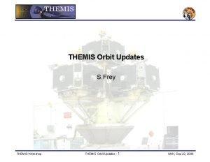 THEMIS Orbit Updates S Frey THEMIS Workshop THEMIS