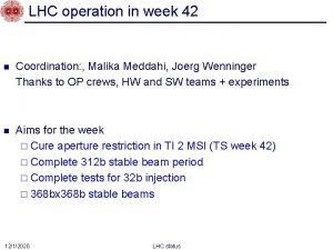 LHC operation in week 42 n Coordination Malika
