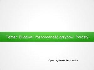 Temat Budowa i rnorodno grzybw Porosty Oprac Agnieszka