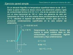 Ejercicio pared simple Pared plana sin generacin interna
