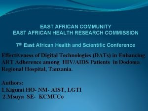 EAST AFRICAN COMMUNITY EAST AFRICAN HEALTH RESEARCH COMMISSION