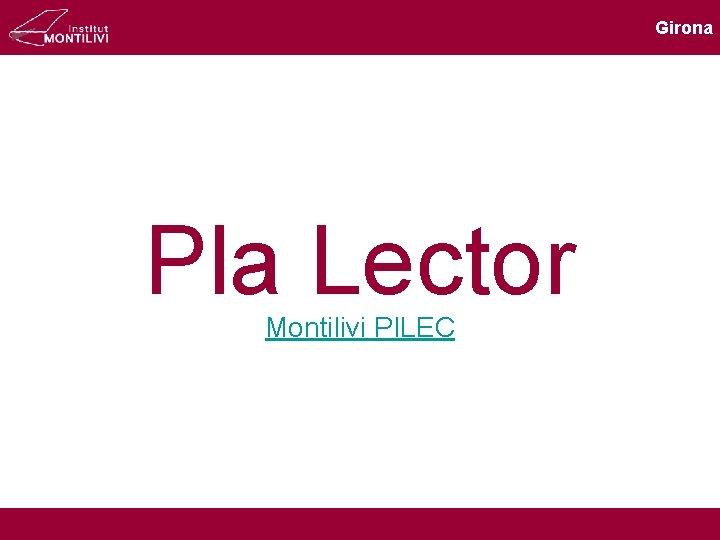 Girona Pla Lector Montilivi PILEC Girona Objectius Analitzar