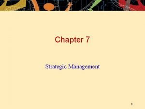Chapter 7 Strategic Management 1 OUTLINE Strategic Management