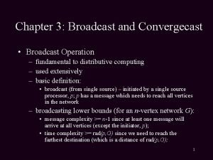 Chapter 3 Broadcast and Convergecast Broadcast Operation fundamental