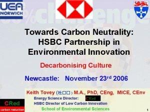 Towards Carbon Neutrality HSBC Partnership in Environmental Innovation
