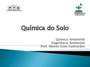 Qumica do Solo Qumica Ambiental Engenharia Ambiental Prof