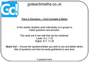 Plans Elevations Card Complete Match In this activity