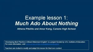 Example lesson 1 Much Ado About Nothing Athena