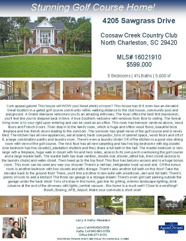 Stunning Golf Course Home 4205 Sawgrass Drive Coosaw