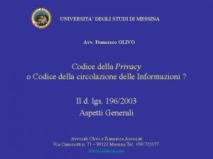 UNIVERSITA DEGLI STUDI DI MESSINA Avv Francesco OLIVO