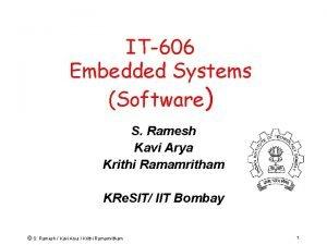 IT606 Embedded Systems Software S Ramesh Kavi Arya