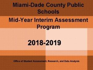 MiamiDade County Public Schools MidYear Interim Assessment Program