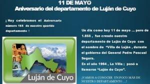11 DE MAYO Aniversario del departamento de Lujn