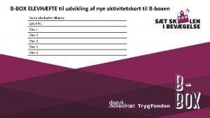 BBOX ELEVHFTE til udvikling af nye aktivitetskort til
