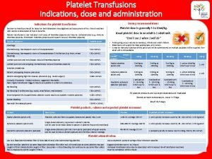 Platelet Transfusions Indications dose and administration Indications for