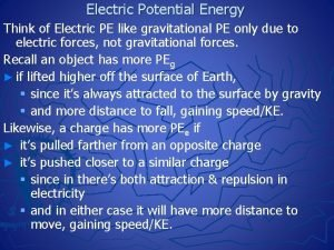 Electric Potential Energy Think of Electric PE like
