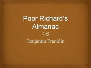 Poor Richards Almanac Benjamin Franklin Benjamin Franklin Worked