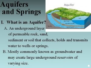 Aquifers and Springs I What is an Aquifer