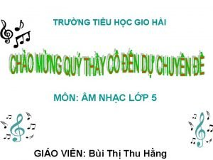 TRNG TIU HC GIO HI MN M NHC
