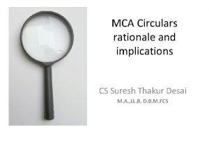 MCA Circulars rationale and implications CS Suresh Thakur