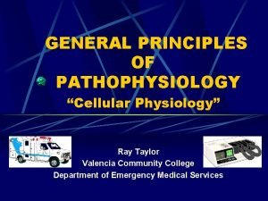GENERAL PRINCIPLES OF PATHOPHYSIOLOGY Cellular Physiology Ray Taylor