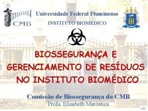 Universidade Federal Fluminense INSTITUTO BIOMDICO BIOSSEGURANA E GERENCIAMENTO