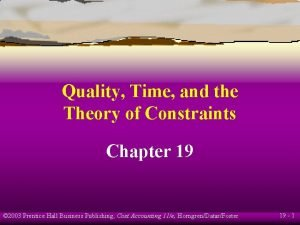 Quality Time and the Theory of Constraints Chapter