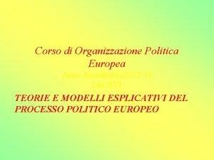 Corso di Organizzazione Politica Europea Anno Accademico 2012