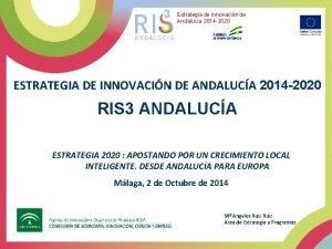 Estrategia de Innovacin de Andaluca 2014 2020 ESTRATEGIA