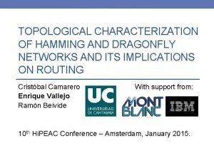 TOPOLOGICAL CHARACTERIZATION OF HAMMING AND DRAGONFLY NETWORKS AND