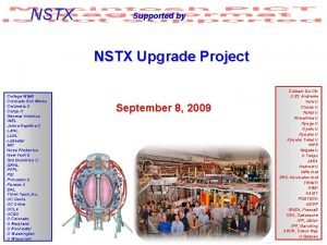 NSTX Supported by NSTX Upgrade Project College WM