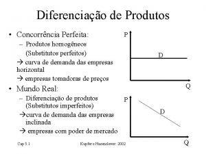 Diferenciao de Produtos Concorrncia Perfeita P Produtos homogneos