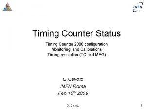 Timing Counter Status Timing Counter 2008 configuration Monitoring
