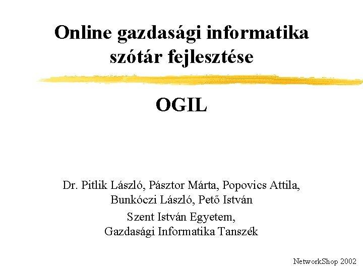 Online gazdasgi informatika sztr fejlesztse OGIL Dr Pitlik