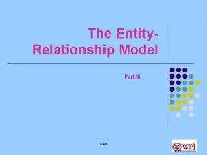 The Entity Relationship Model Part III CS 3431