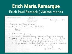 Erich Maria Remarque Erich Paul Remark vlastn meno